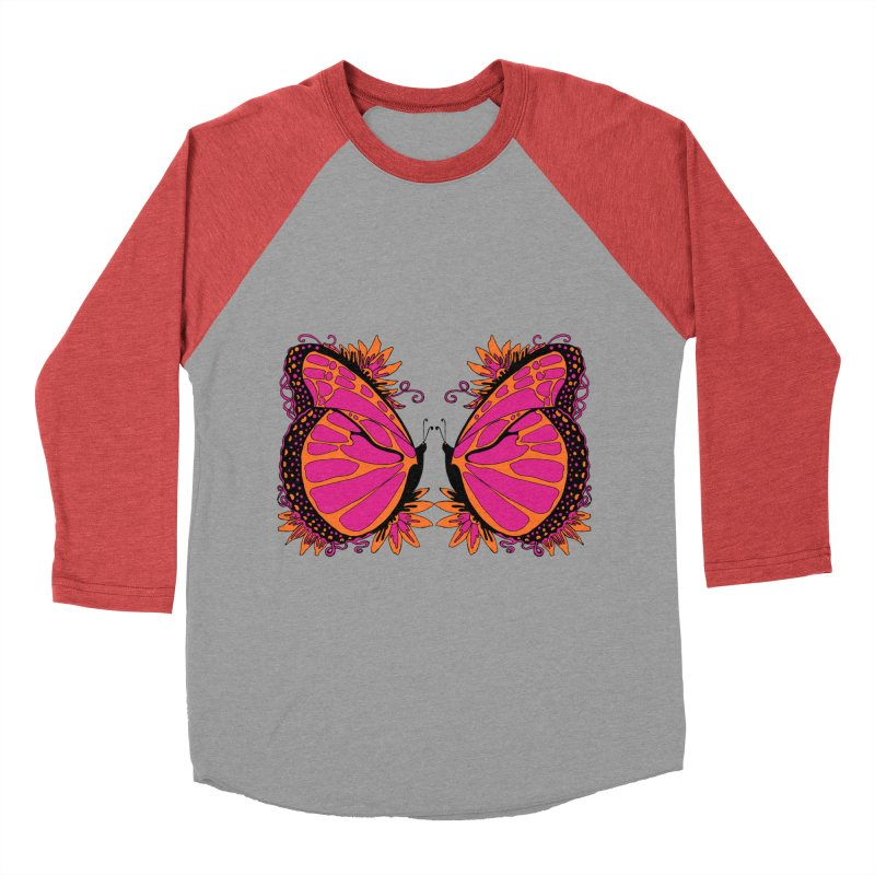 Pink and Orange Polka Dot Butterfly Women's Baseball Triblend Longsleeve T-Shirt by jandeangelis's Artist Shop