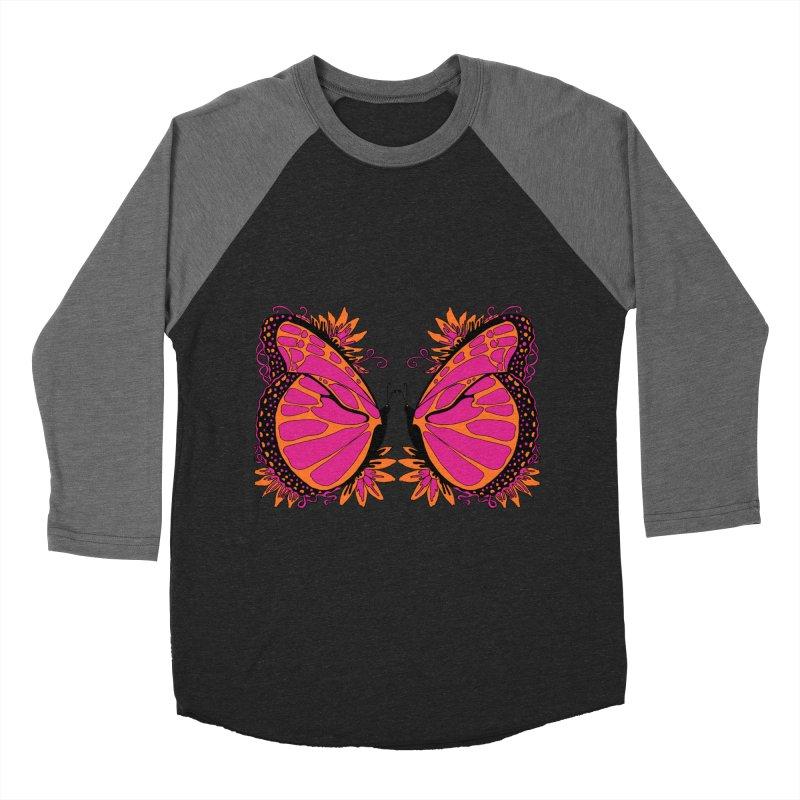 Pink and Orange Polka Dot Butterfly Women's Baseball Triblend Longsleeve T-Shirt by jandeangelis's Artist Shop