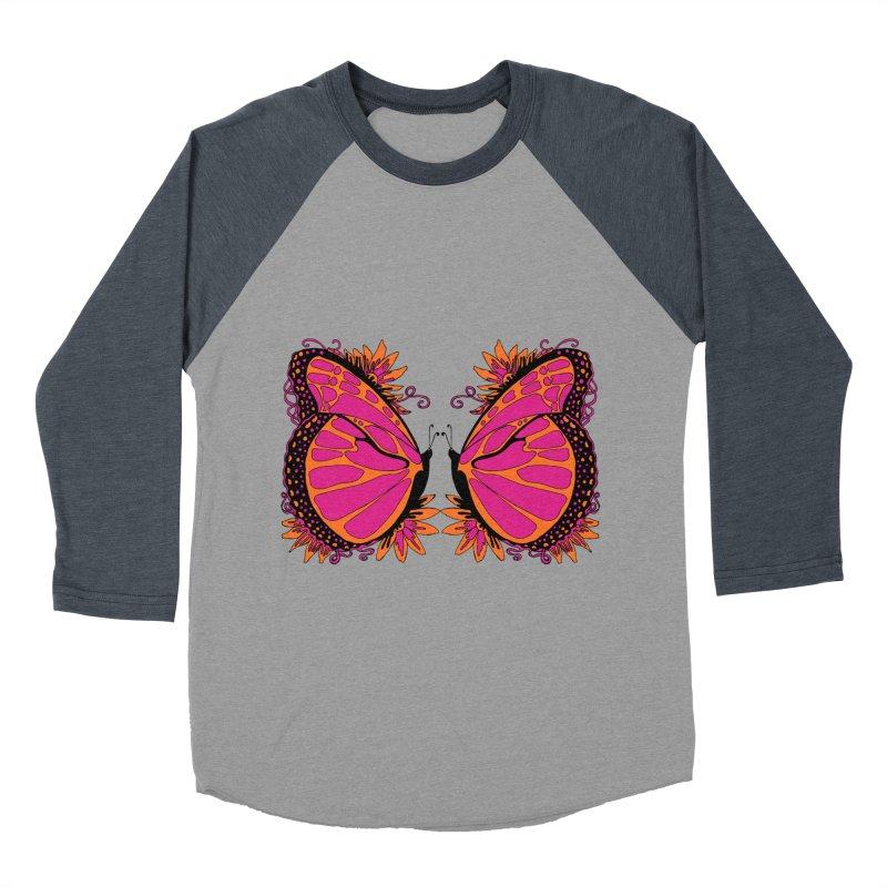 Pink and Orange Polka Dot Butterfly Women's Baseball Triblend T-Shirt by jandeangelis's Artist Shop