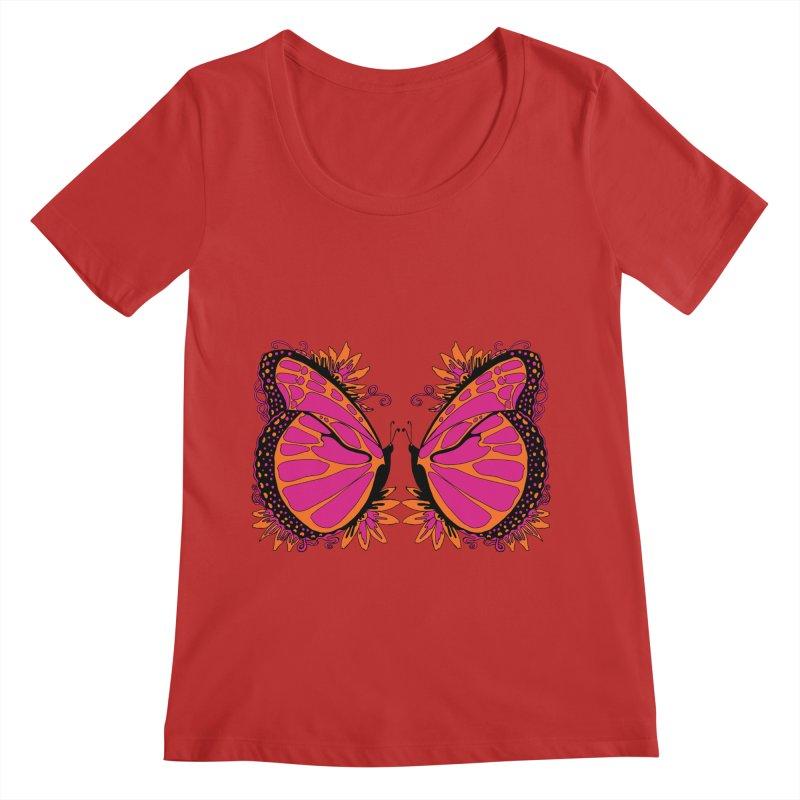 Pink and Orange Polka Dot Butterfly Women's Scoop Neck by jandeangelis's Artist Shop