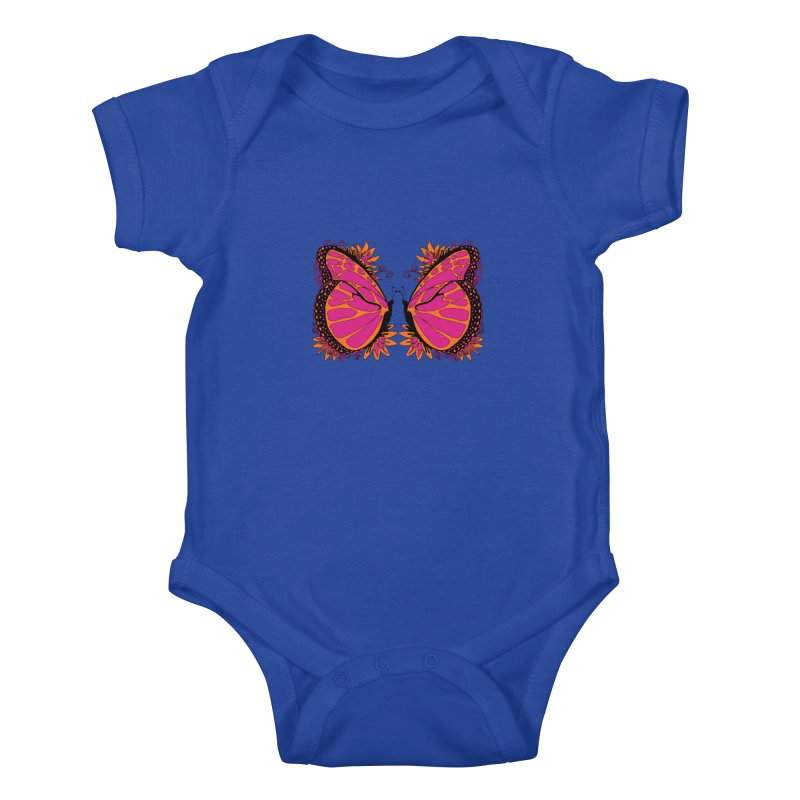 Pink and Orange Polka Dot Butterfly Kids Baby Bodysuit by jandeangelis's Artist Shop