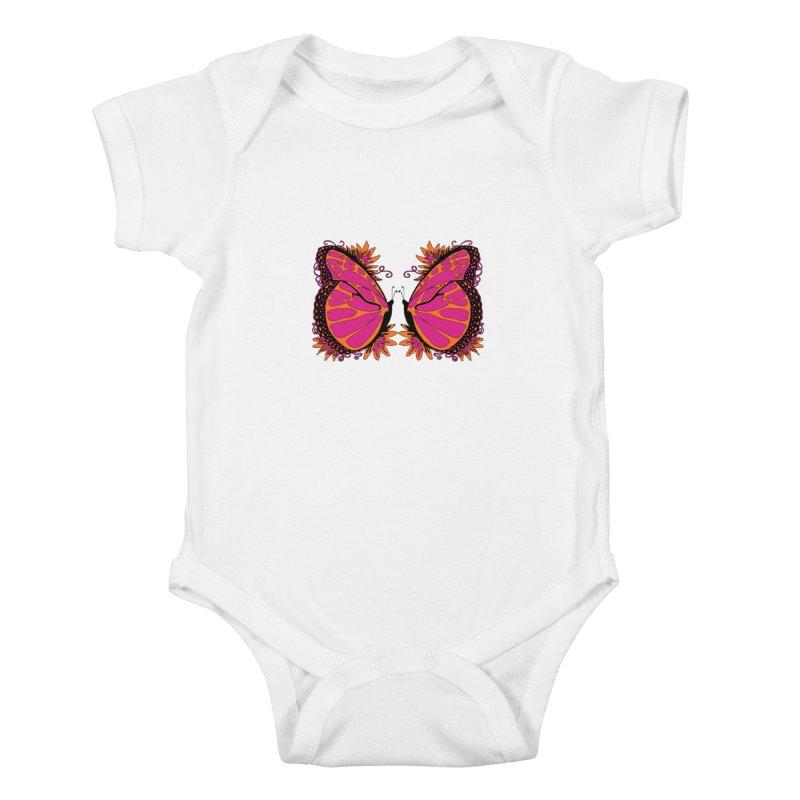 Pink and Orange Polka Dot Butterfly Kids Baby Bodysuit by jandeangelis's Artist Shop