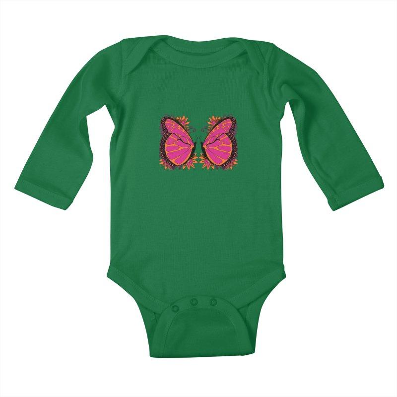 Pink and Orange Polka Dot Butterfly Kids Baby Longsleeve Bodysuit by jandeangelis's Artist Shop