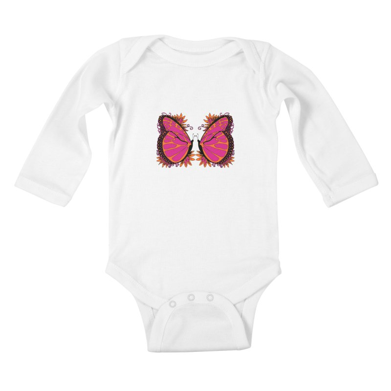 Pink and Orange Polka Dot Butterfly Kids Baby Longsleeve Bodysuit by jandeangelis's Artist Shop