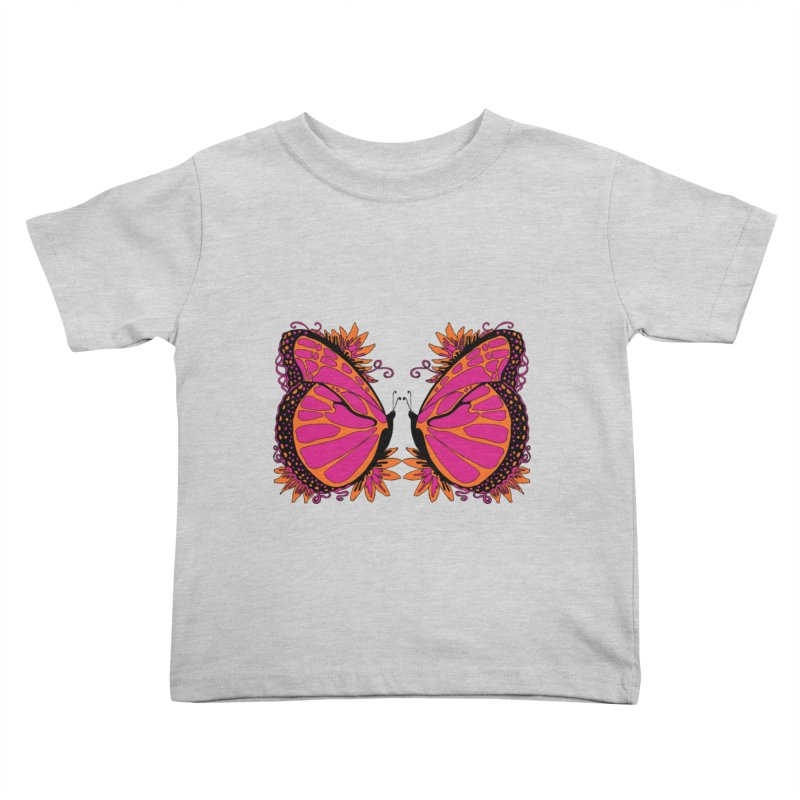 Pink and Orange Polka Dot Butterfly Kids Toddler T-Shirt by jandeangelis's Artist Shop
