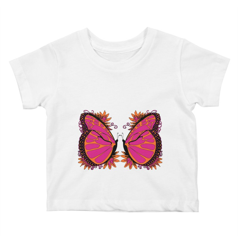 Pink and Orange Polka Dot Butterfly Kids Baby T-Shirt by jandeangelis's Artist Shop