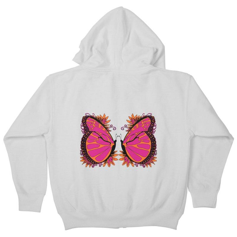 Pink and Orange Polka Dot Butterfly Kids Zip-Up Hoody by jandeangelis's Artist Shop