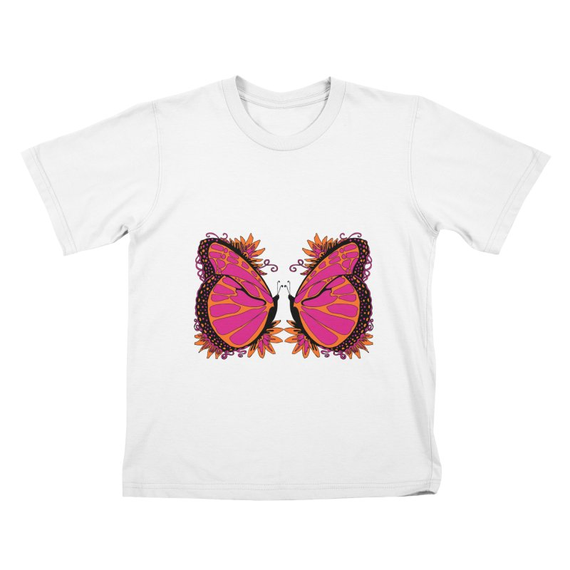 Pink and Orange Polka Dot Butterfly Kids T-Shirt by jandeangelis's Artist Shop