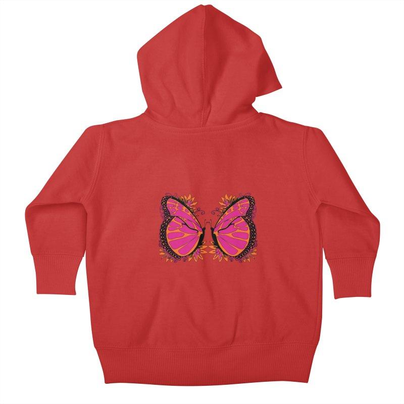 Pink and Orange Polka Dot Butterfly Kids Baby Zip-Up Hoody by jandeangelis's Artist Shop
