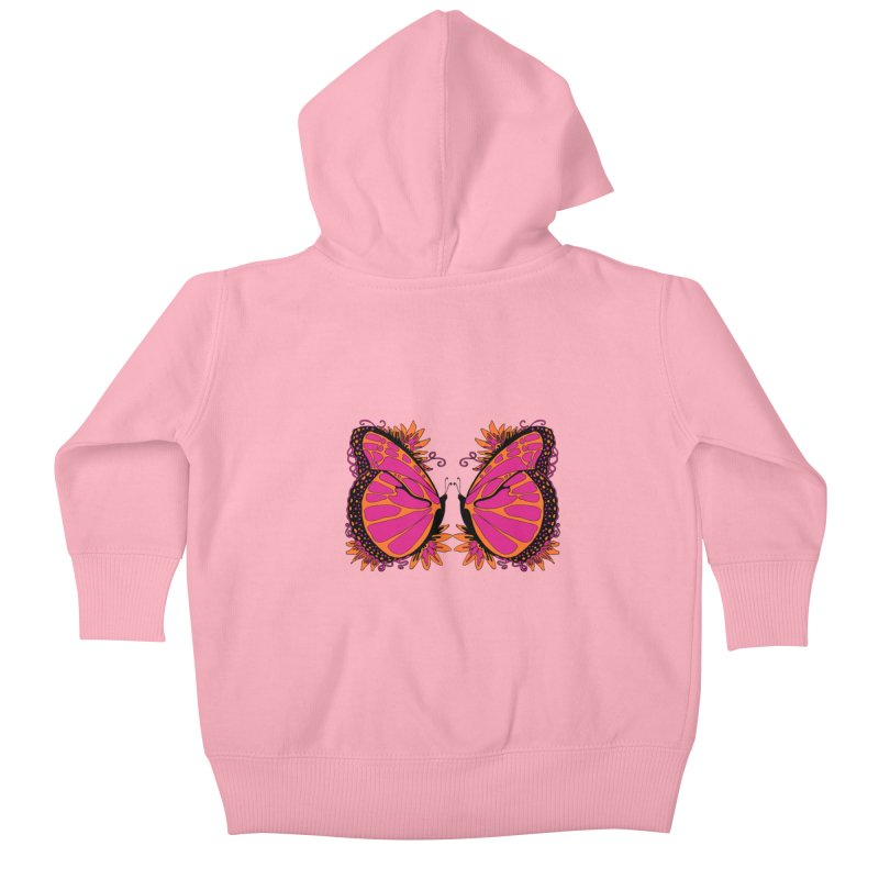 Pink and Orange Polka Dot Butterfly Kids Baby Zip-Up Hoody by jandeangelis's Artist Shop