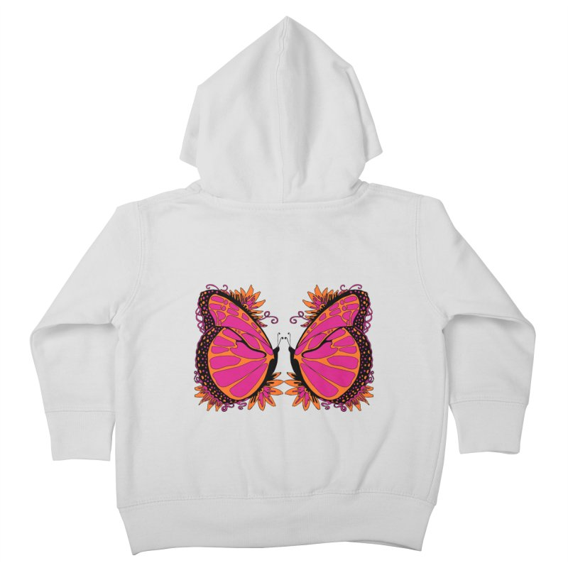 Pink and Orange Polka Dot Butterfly Kids Toddler Zip-Up Hoody by jandeangelis's Artist Shop