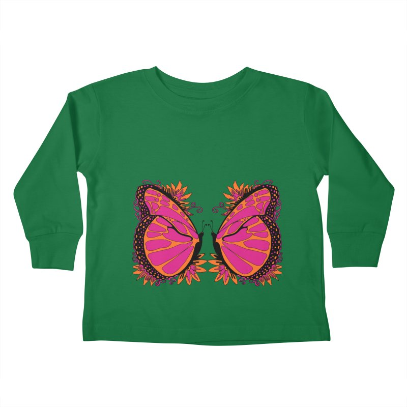 Pink and Orange Polka Dot Butterfly Kids Toddler Longsleeve T-Shirt by jandeangelis's Artist Shop