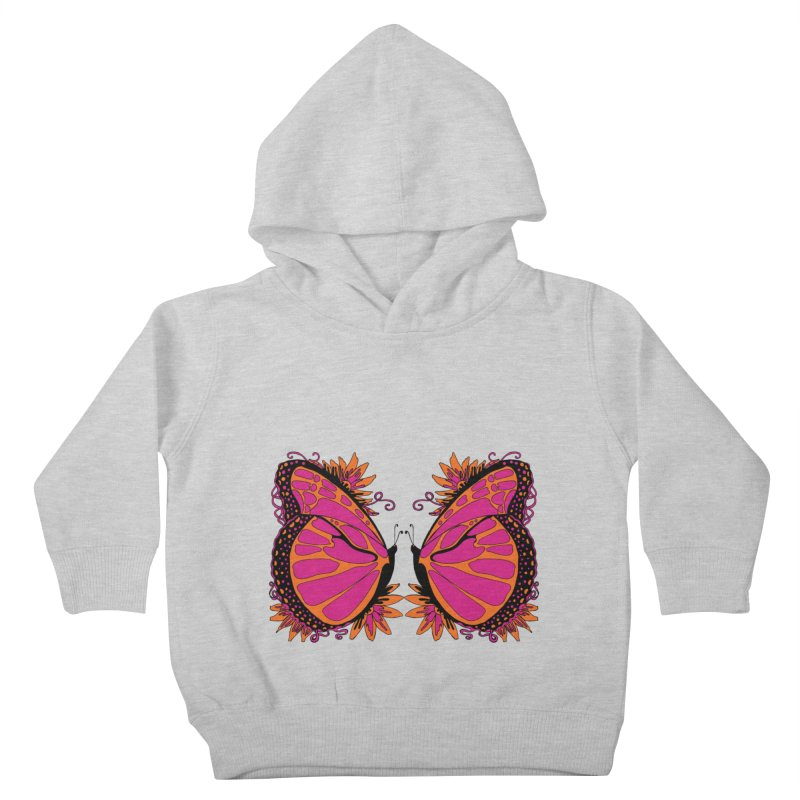 Pink and Orange Polka Dot Butterfly Kids Toddler Pullover Hoody by jandeangelis's Artist Shop