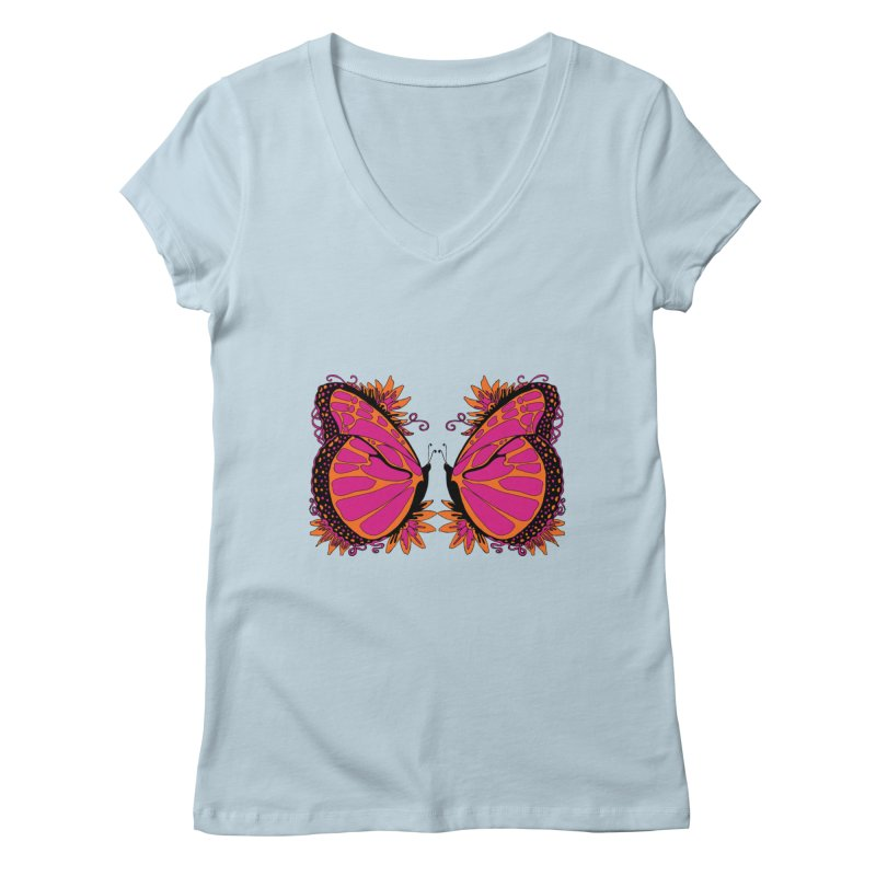 Pink and Orange Polka Dot Butterfly Women's V-Neck by jandeangelis's Artist Shop