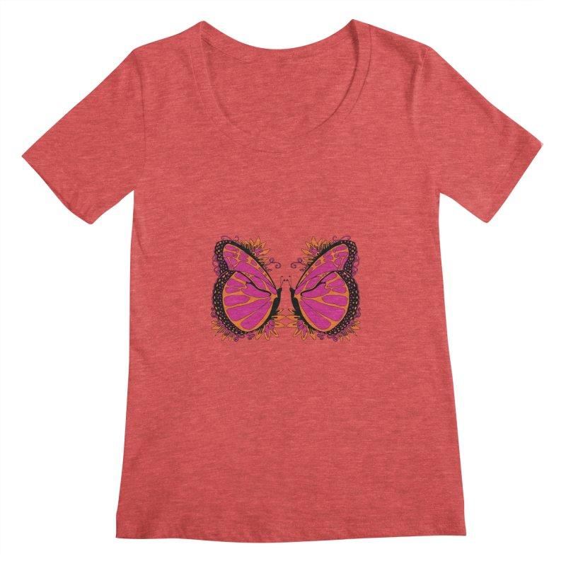 Pink and Orange Polka Dot Butterfly Women's Regular Scoop Neck by jandeangelis's Artist Shop