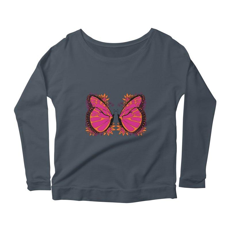 Pink and Orange Polka Dot Butterfly Women's Longsleeve Scoopneck  by jandeangelis's Artist Shop