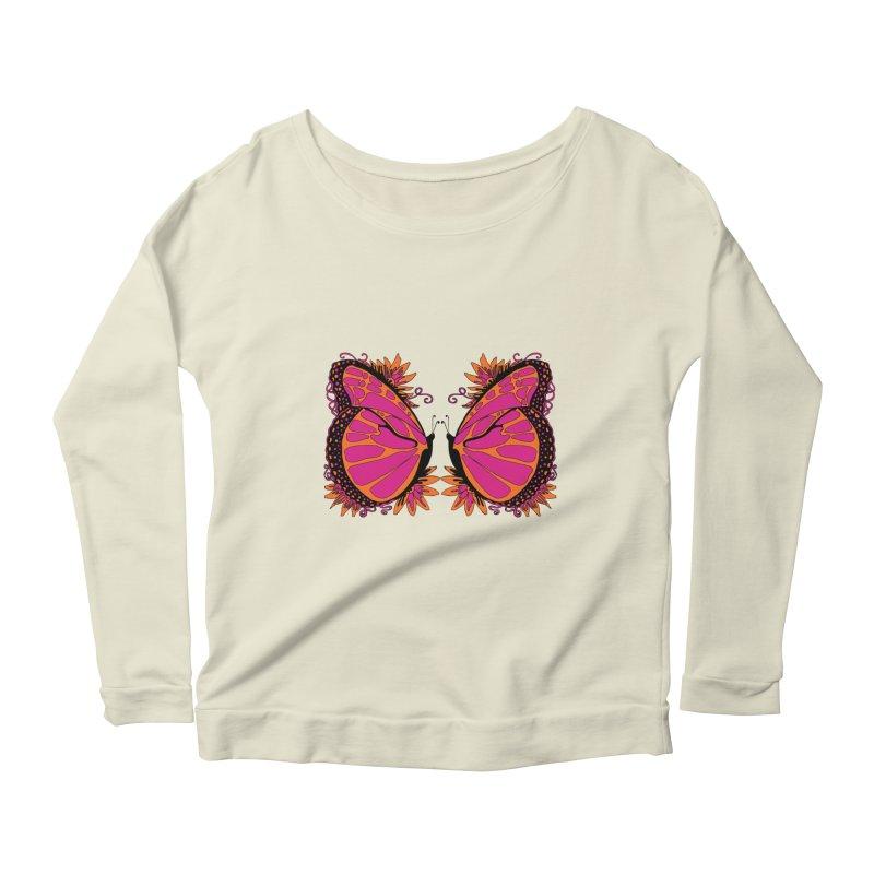 Pink and Orange Polka Dot Butterfly Women's Scoop Neck Longsleeve T-Shirt by jandeangelis's Artist Shop