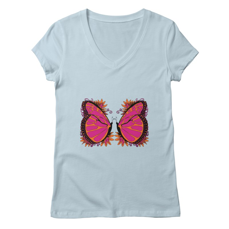 Pink and Orange Polka Dot Butterfly Women's Regular V-Neck by jandeangelis's Artist Shop