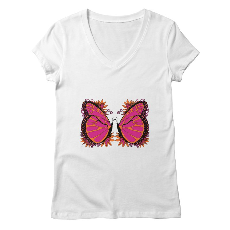Pink and Orange Polka Dot Butterfly Women's V-Neck by jandeangelis's Artist Shop