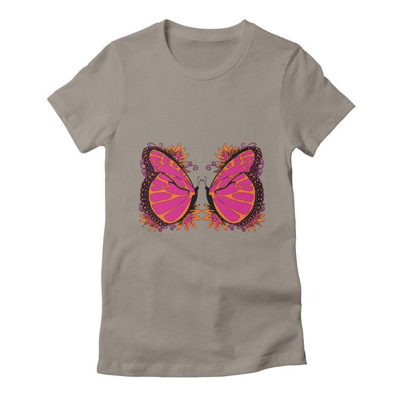 Pink and Orange Polka Dot Butterfly Women's Fitted T-Shirt by jandeangelis's Artist Shop