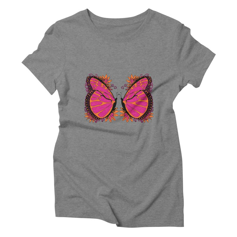Pink and Orange Polka Dot Butterfly Women's Triblend T-shirt by jandeangelis's Artist Shop