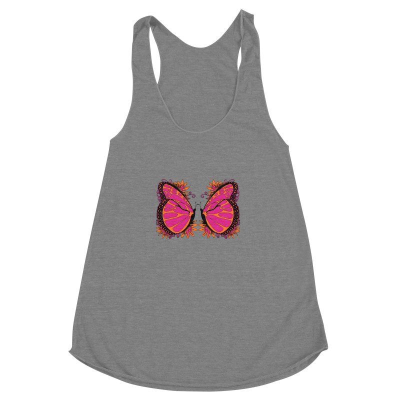 Pink and Orange Polka Dot Butterfly Women's Tank by jandeangelis's Artist Shop