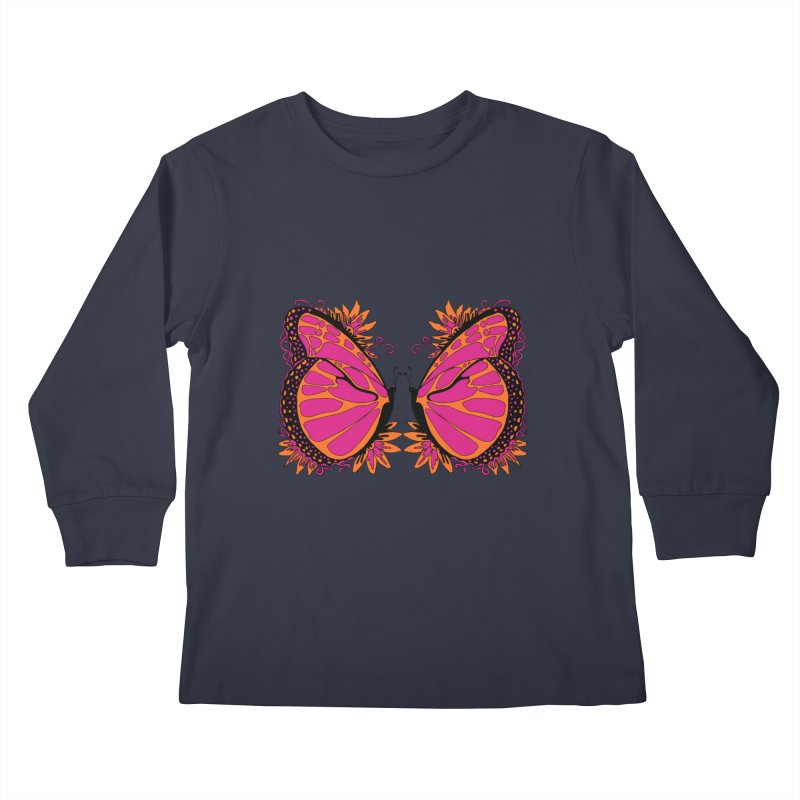 Pink and Orange Polka Dot Butterfly Kids Longsleeve T-Shirt by jandeangelis's Artist Shop