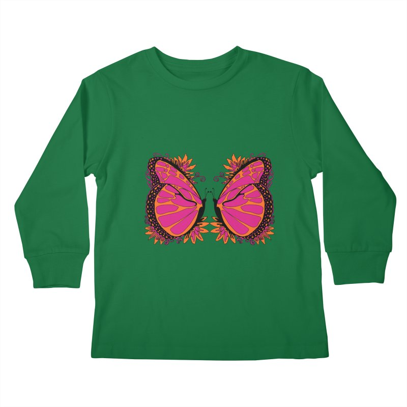 Pink and Orange Polka Dot Butterfly Kids Longsleeve T-Shirt by jandeangelis's Artist Shop