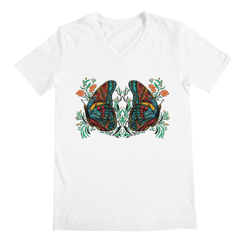 Turquoise Butterfly Men's V-Neck by jandeangelis's Artist Shop