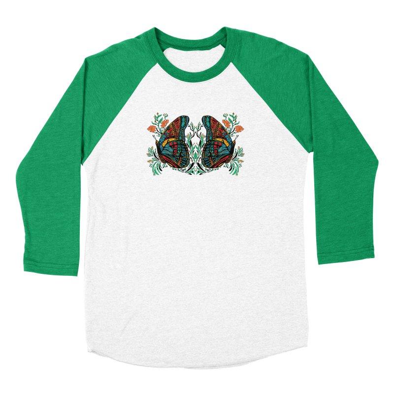 Turquoise Butterfly Women's Baseball Triblend Longsleeve T-Shirt by jandeangelis's Artist Shop