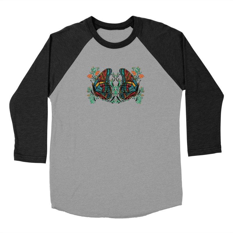 Turquoise Butterfly Men's Baseball Triblend Longsleeve T-Shirt by jandeangelis's Artist Shop