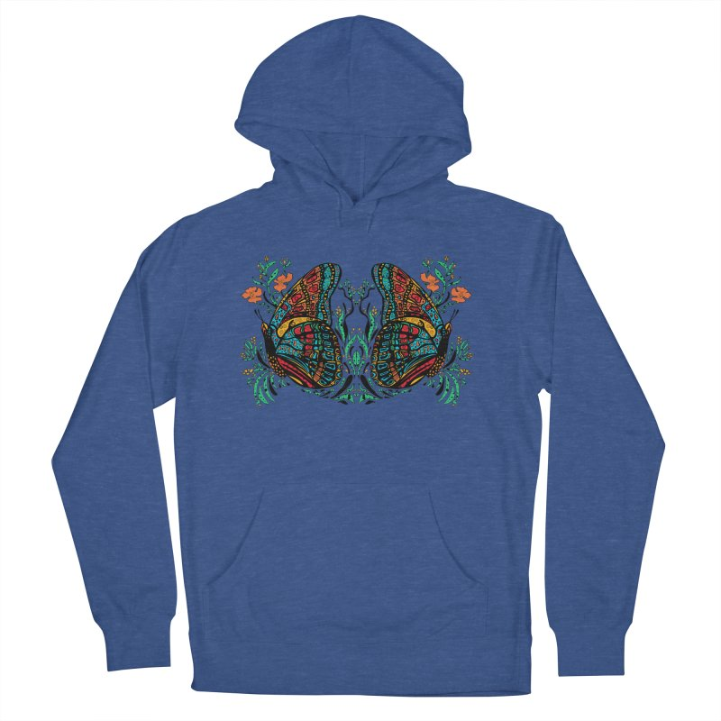 Turquoise Butterfly Women's French Terry Pullover Hoody by jandeangelis's Artist Shop