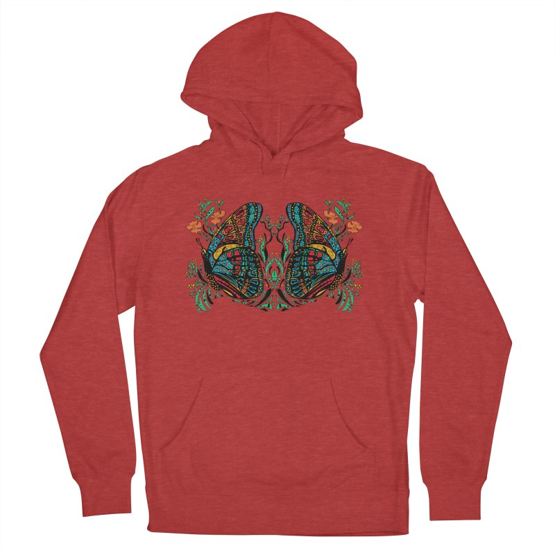 Turquoise Butterfly Men's French Terry Pullover Hoody by jandeangelis's Artist Shop