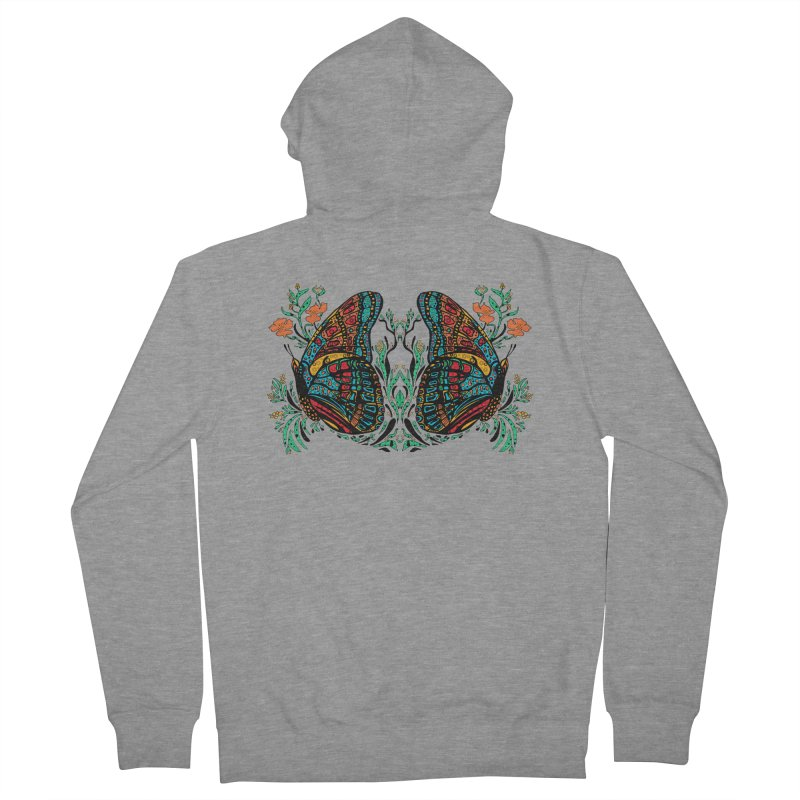 Turquoise Butterfly Women's French Terry Zip-Up Hoody by jandeangelis's Artist Shop