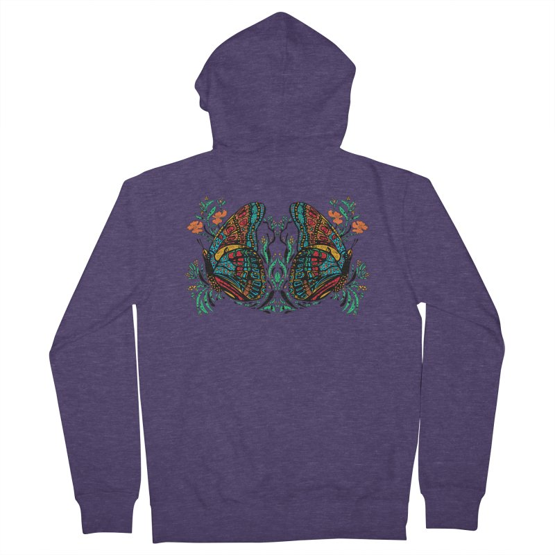 Turquoise Butterfly Men's Zip-Up Hoody by jandeangelis's Artist Shop