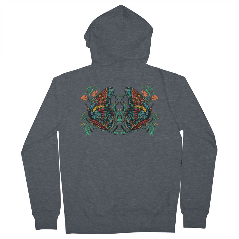 Turquoise Butterfly Men's French Terry Zip-Up Hoody by jandeangelis's Artist Shop