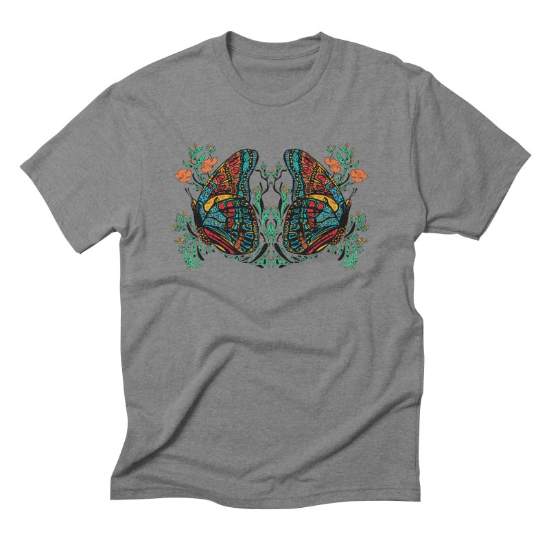 Turquoise Butterfly Men's Triblend T-Shirt by jandeangelis's Artist Shop