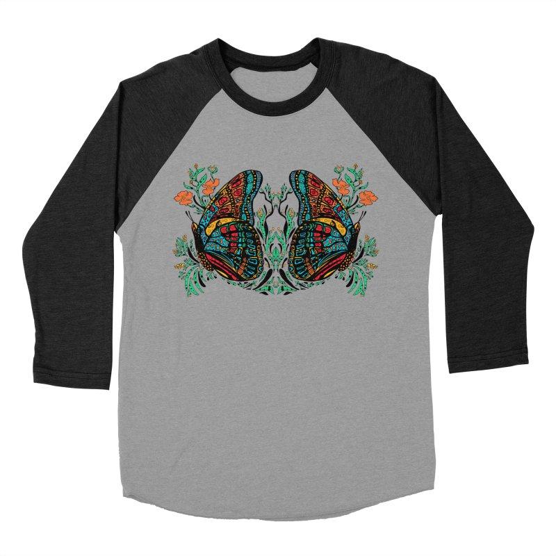 Turquoise Butterfly Women's Baseball Triblend T-Shirt by jandeangelis's Artist Shop