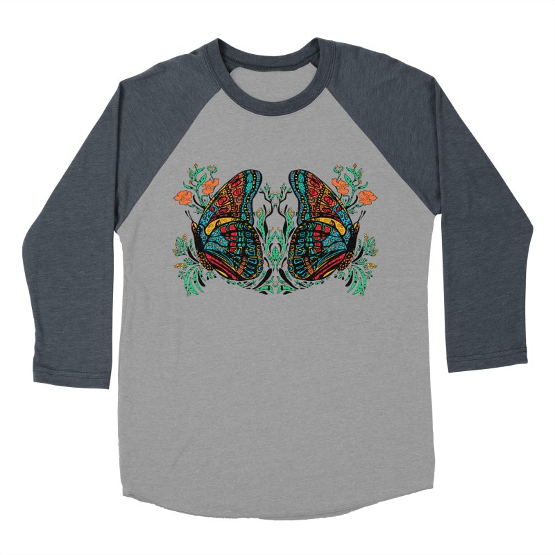 Turquoise Butterfly Men's Baseball Triblend T-Shirt by jandeangelis's Artist Shop