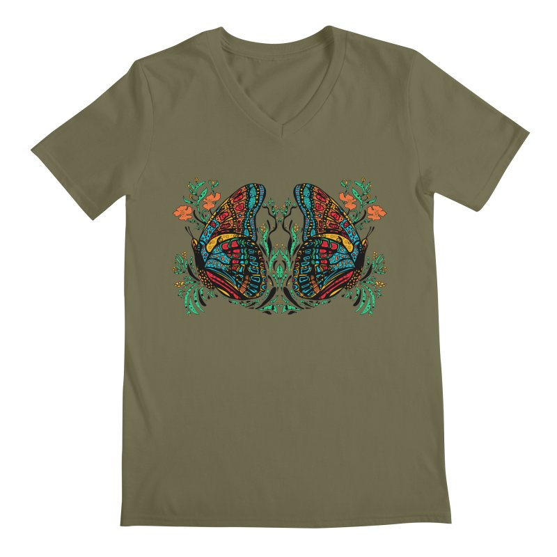Turquoise Butterfly Men's Regular V-Neck by jandeangelis's Artist Shop