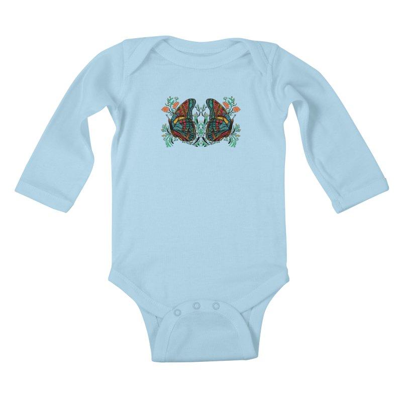 Turquoise Butterfly Kids Baby Longsleeve Bodysuit by jandeangelis's Artist Shop