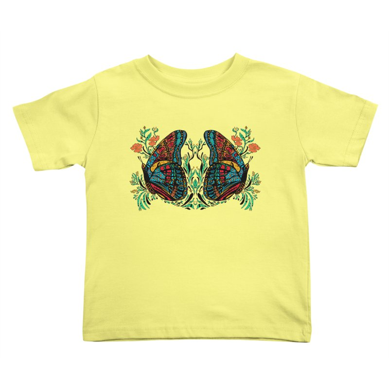 Turquoise Butterfly Kids Toddler T-Shirt by jandeangelis's Artist Shop