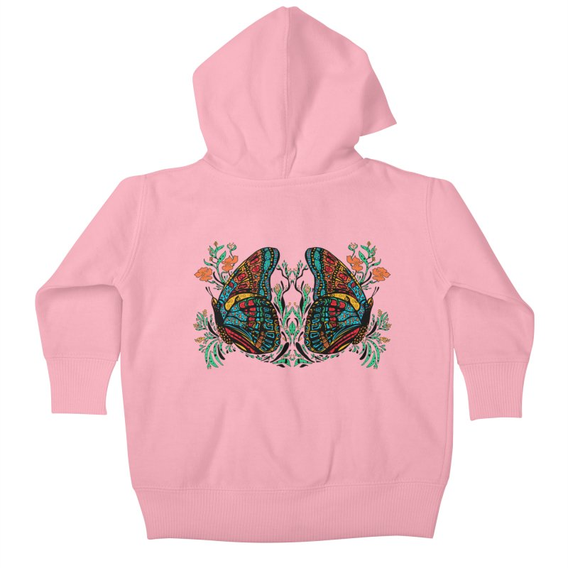 Turquoise Butterfly Kids Baby Zip-Up Hoody by jandeangelis's Artist Shop
