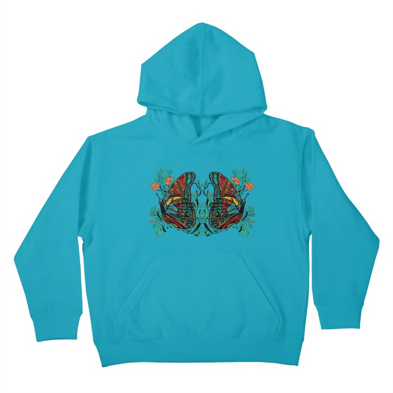 Turquoise Butterfly Kids Pullover Hoody by jandeangelis's Artist Shop