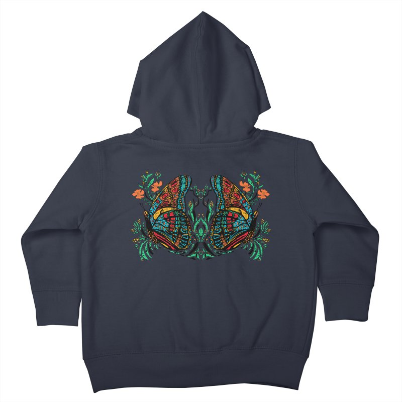 Turquoise Butterfly Kids Toddler Zip-Up Hoody by jandeangelis's Artist Shop