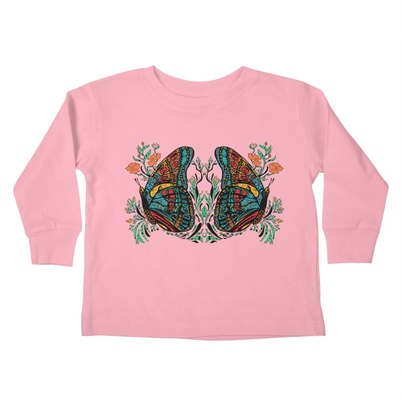 Turquoise Butterfly Kids Toddler Longsleeve T-Shirt by jandeangelis's Artist Shop