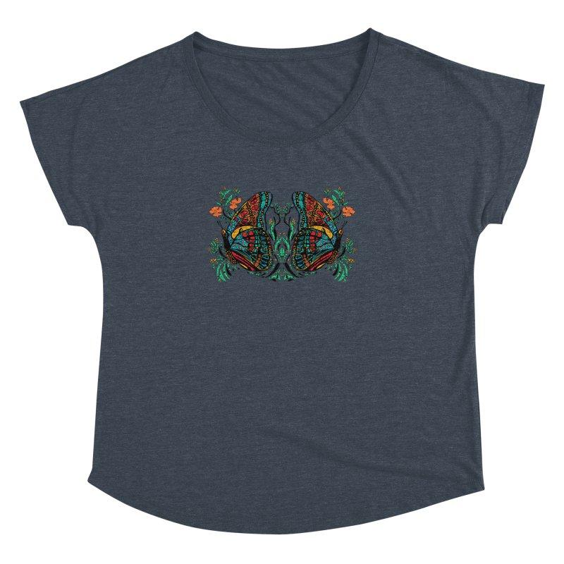Turquoise Butterfly Women's Dolman Scoop Neck by jandeangelis's Artist Shop