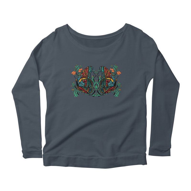 Turquoise Butterfly Women's Scoop Neck Longsleeve T-Shirt by jandeangelis's Artist Shop