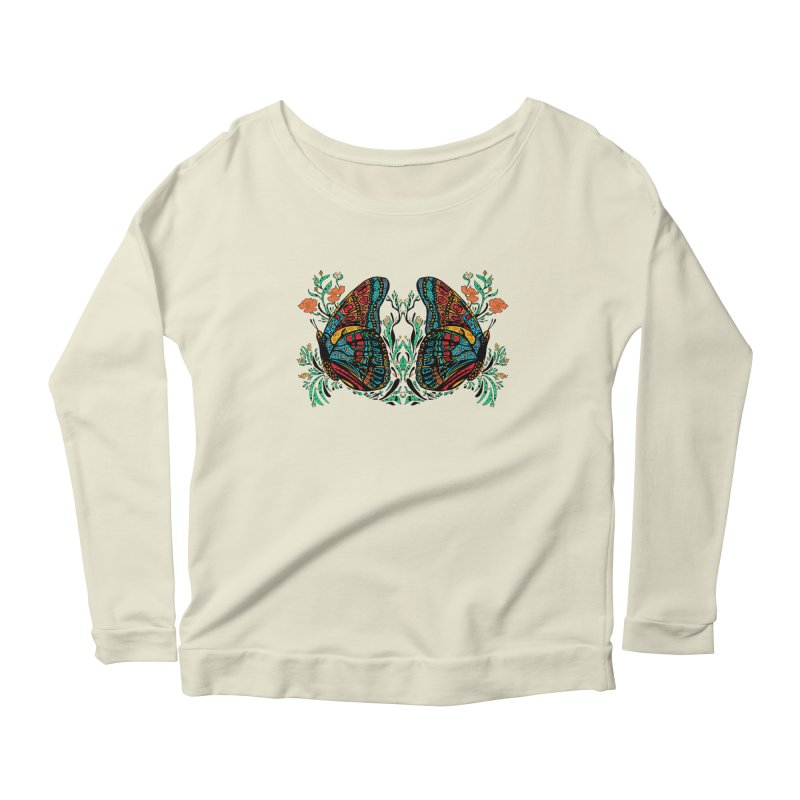 Turquoise Butterfly Women's Scoop Neck Longsleeve T-Shirt by jandeangelis's Artist Shop