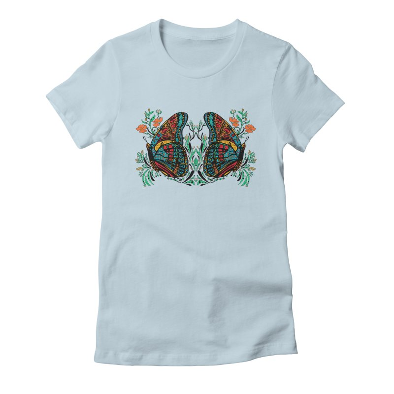 Turquoise Butterfly Women's Fitted T-Shirt by jandeangelis's Artist Shop